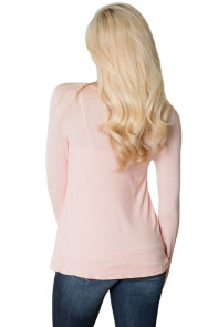 Pink Ruffle Criss Cross Neck Top