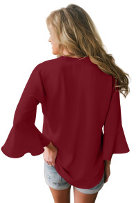 Burgundy Peplum Sleeve V Neck Stylish Blouse