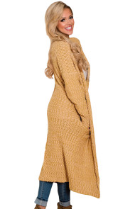 Yellow Open Front Knit Long Cardigan