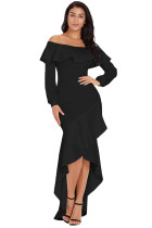 Black Lantern Sleeve Asymmetric Ruffle Hem Evening Dress