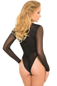 Black Sheer Long Sleeved Front Cut out Bodysuit