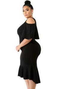 Black Flutter Sleeve Cold Shoulder Plus Size Dress