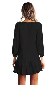 Sleeved Button Down Black Casual Short Dress