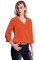 Orange Lapel V Neck Roll Sleeve Blouse