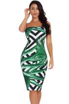 Tropical Green Leaf Print Strapless Bodycon Dress