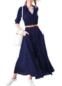Navy Blue Polka Dot Button Down Maxi Shirt Dress