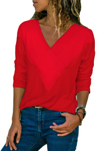 Red Long Sleeve V Neck Casual Top