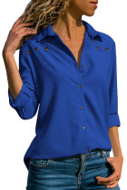 Royal Blue Stylish Button Detail Long Sleeve Blouse