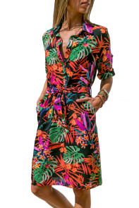 Tropical Leaf Print Button V Neck Shirt Dress