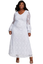 White Lace Bell Sleeve Plus Size Maxi Dress