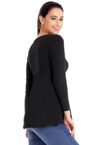 Black Pleated Long Sleeve V Neck Flared Top