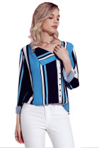 Navy Blue White Striped Asymmetric Button Down Shirt