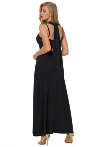Black Self Tie Ribbon Wrap Maxi Dress