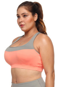 Coral Grey Crossed Keyhole Back Sports Bra