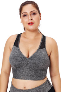 Gray Sleevelss Racerback Plus Size Yoga Bra