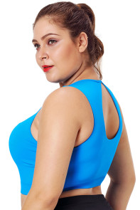 Blue Mesh Insert High Neck Plus Size Sport Bra