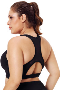 Black Plus Size Racerback Pleated Sport Bra