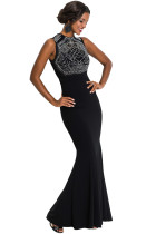 Rhinestone Embellished Bodice Black Sleeveless Party Dress