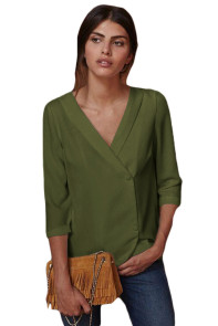 Army Green Button Back Lapel V Neck Blouse
