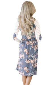 Purple Floral Stripe Long Sleeve Side Pocket Boho Dress