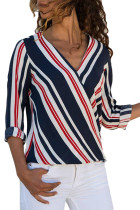 Red Accent Stripe Long Sleeve V Neck Shirt