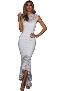 White Lace Overlay Embroidered Mermaid Dress