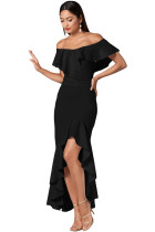 Black Ruffled Off Shoulder High Low Mermaid Dress