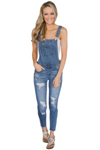 Light Blue Wash Distressed Jeans Overalls