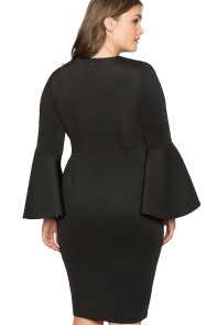 Black Plus Size Flare Sleeve Scuba Dress