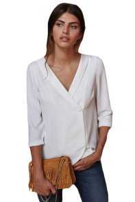White Button Back Lapel V Neck Blouse