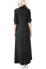 Black Polka Dot Button Down Maxi Shirt Dress