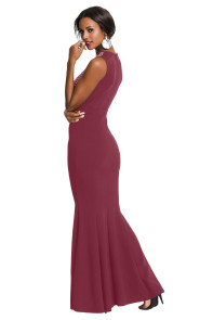 Rhinestone Embellished Bodice Burgundy Sleeveless Party Dress