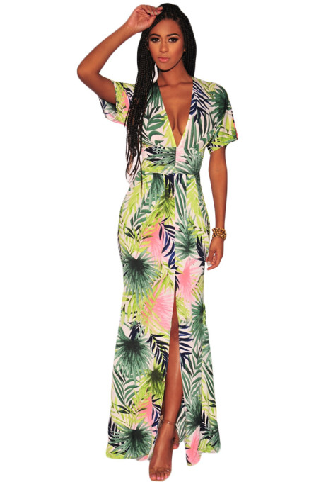 Green Palm Print V Neck Slit Maxi Boho Dress
