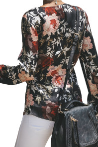 Black Daisy Floral Wrap Tie Waist Long Sleeve Blouse