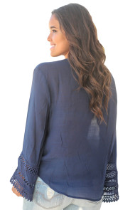 Blue Long Bell Sleeve Crotch V Neck Tunic Top