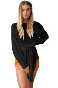Black Side Split Belted Pullover Sweater
