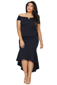 Navy Blue Plus Size Dip Hem Fishtail Midi Dress