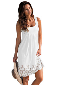 Bohemian Flowery Detail White Short Tank Dress