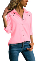 Pink Stylish Button Detail Long Sleeve Blouse