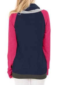 Rosy Thumb Hole Sleeves Navy Color Block Sweatshirt
