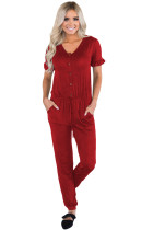 Burgundy Ruffled Short Sleeve Casual Jersey Jumpsuit