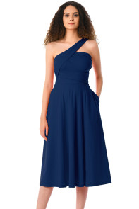 Navy Asymmetric One Shoulder Flared Midi Dress