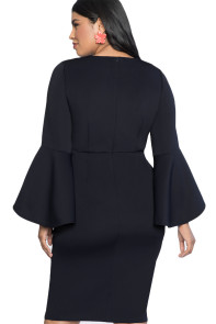 Navy Plus Size Flare Sleeve Scuba Dress