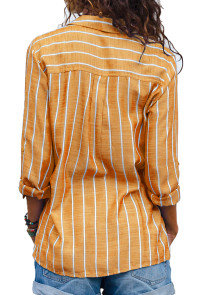Orange Striped Roll Tab Sleeve Button Shirt