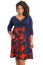 Dark Blue Plus Size 3/4 Sleeve Contrast Print Dress