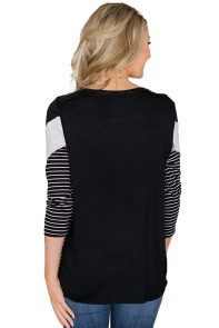 Black White Striped and Chevron Colorblock Top