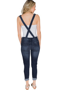 Dark Blue Wash Distressed Jeans Overalls