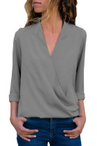 Grey Wrap Front Long Sleeve Blouse