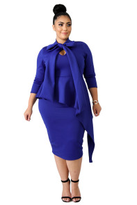 Blue Bowknot Mock Neck Plus Size Bodycon Dress