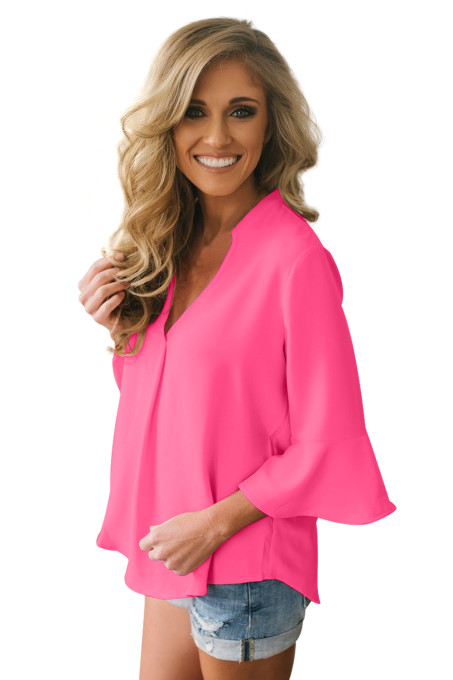 Rosy Peplum Sleeve V Neck Stylish Blouse